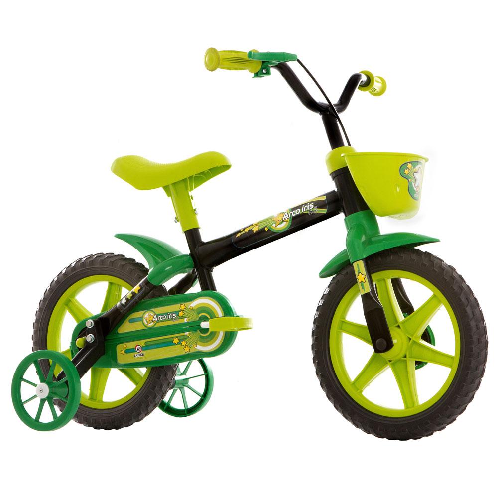 Bicicleta Track Bikes Arco-Íris Infantil - Aro 12 - Preto e verde
