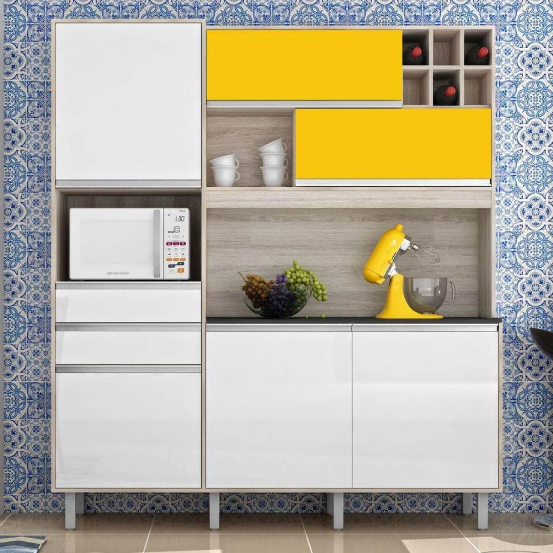 Armário Kit cozinha Loft 6P 2G - Nesher - Branco/Amarelo