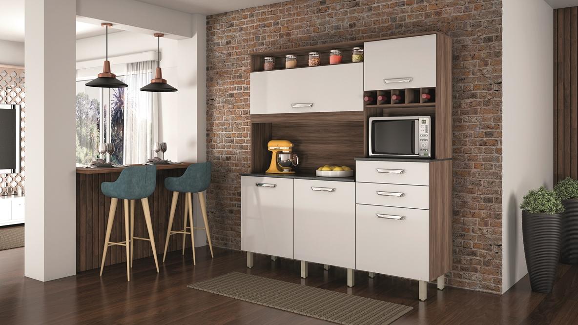 Kit Cozinha Diva Smart - Nesher - Nogal/Branco