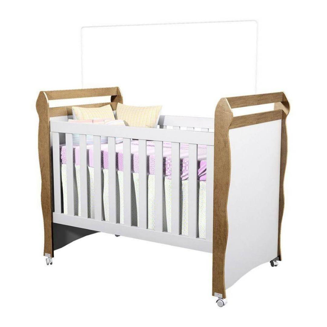 Berço Mini-cama Mirelle Branco/Amadeirado Rústico - Carolina Baby