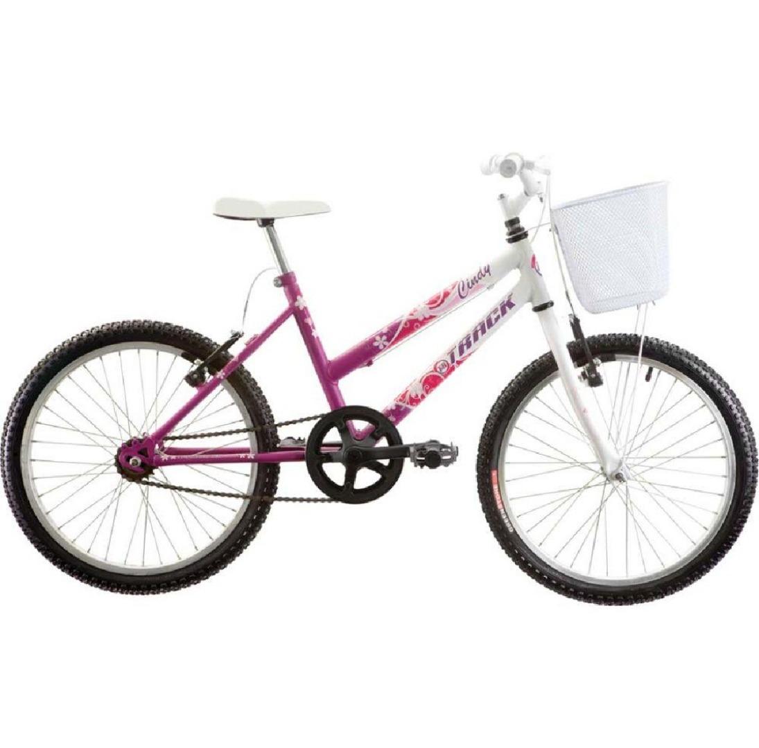 Bicicleta Feminina Cindy com Cesta Aro 20 Magenta/Branco - Track Bikes