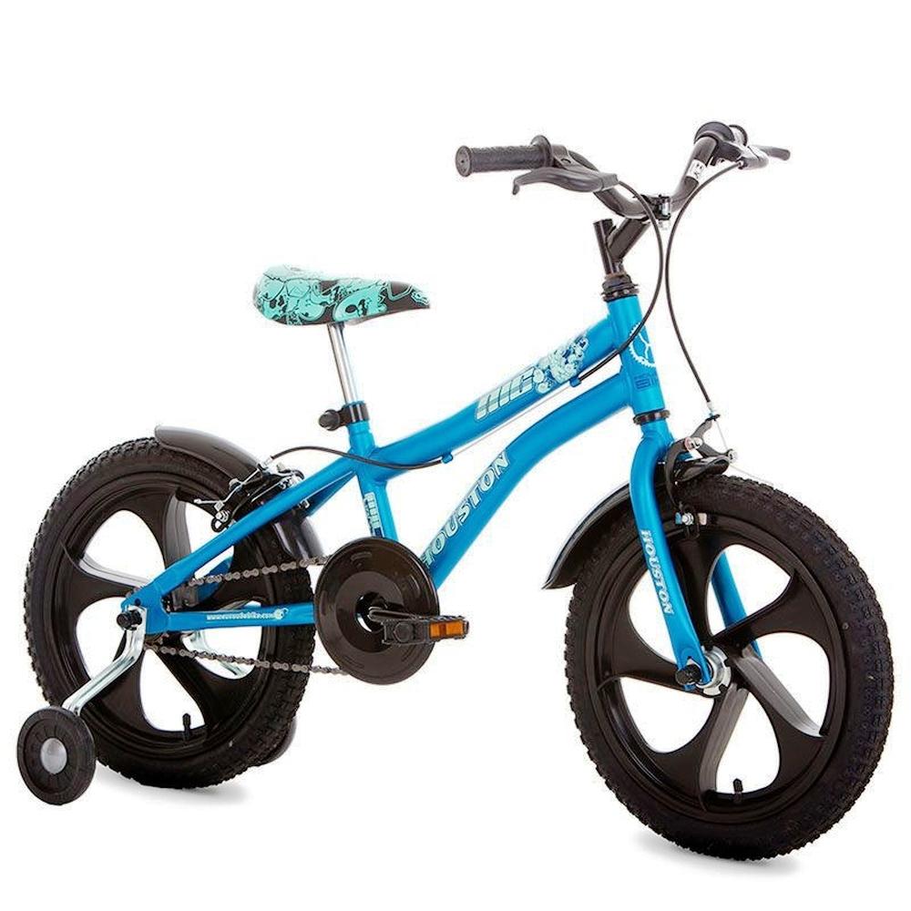 Bicicleta Nic com rodas laterais - Houston Aro 16 - Azul/Preto