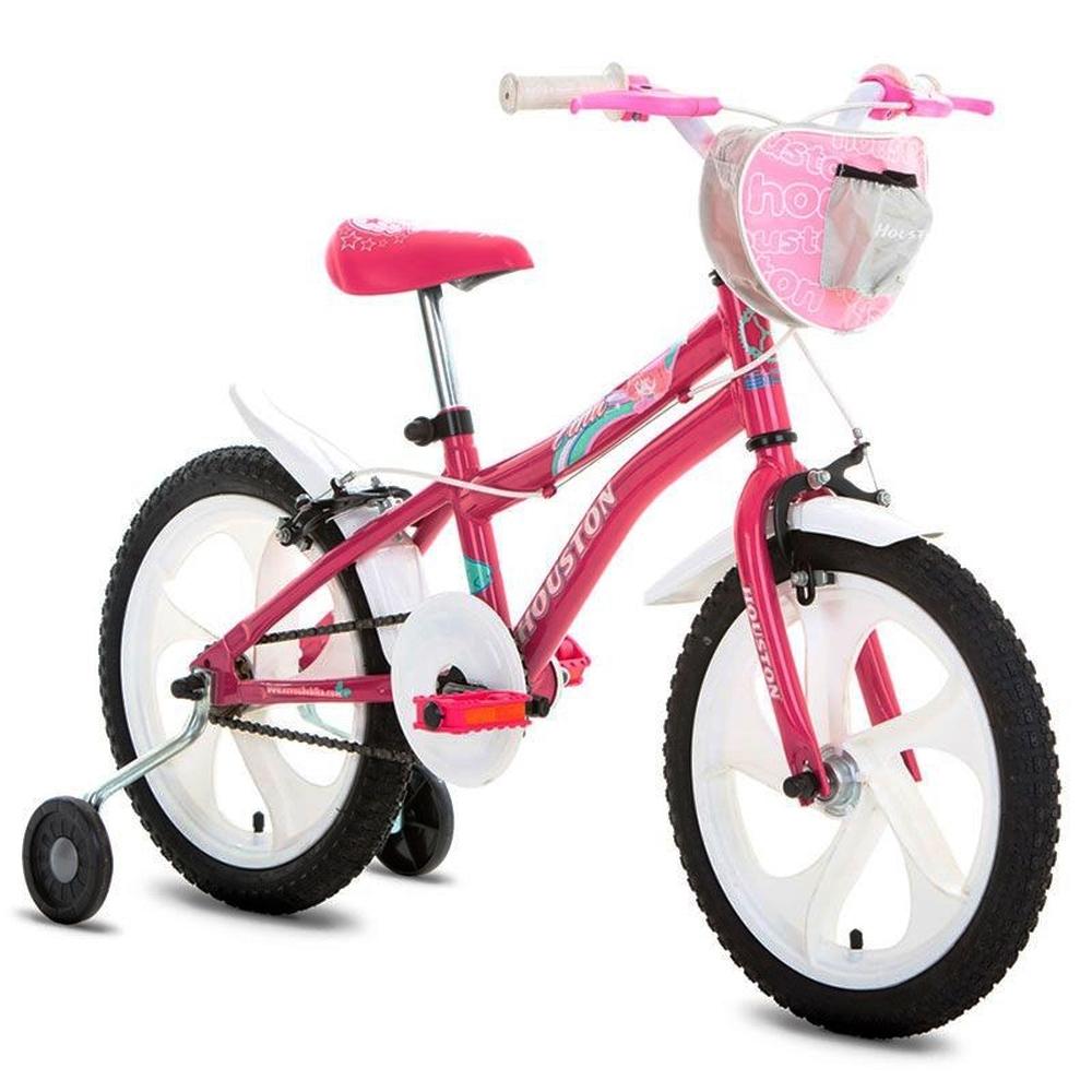 Bicicleta Tina com rodas laterais - Houston Aro 16 - Rosa/Branco