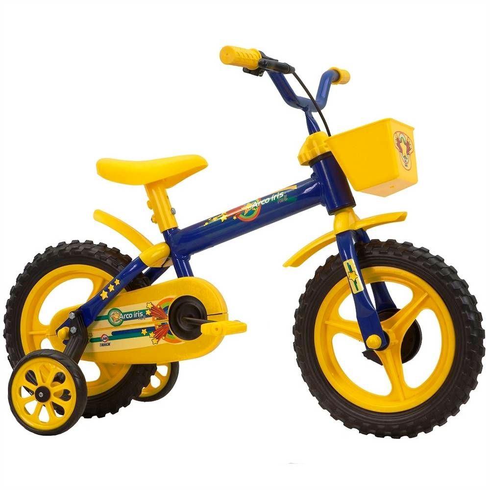 Bicicleta Track Bikes Arco-Íris Infantil - Aro 12 - Azul/Amarelo