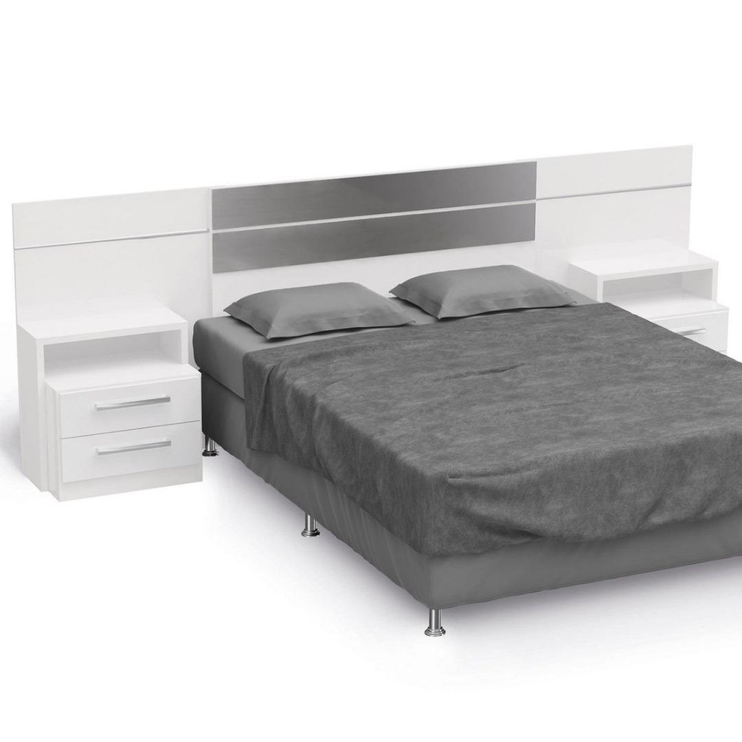 Cabeceira Casal para Cama Box Normal/Queen - B290 com Criado Mudo - Branco - Kappesberg