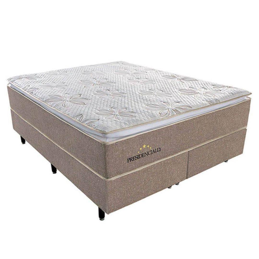 Conjunto Box Colchão Queen Size Presidencially com Molas Ensacadas Pocket 158x198 - Plumatex