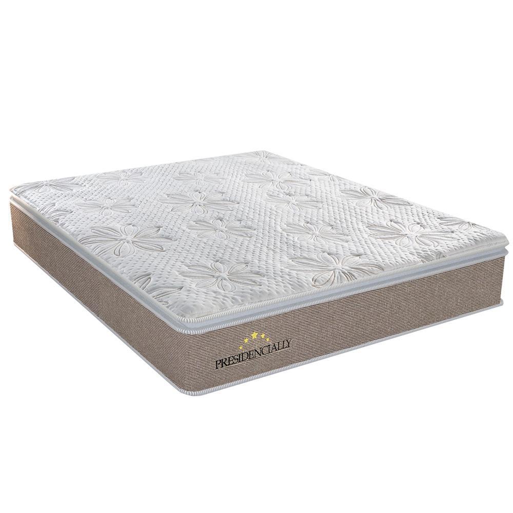 Colchão Casal Presidencially com Pillow High Tech e Molas Ensacadas 34x138x188 Bege/Marrom - Plumatex