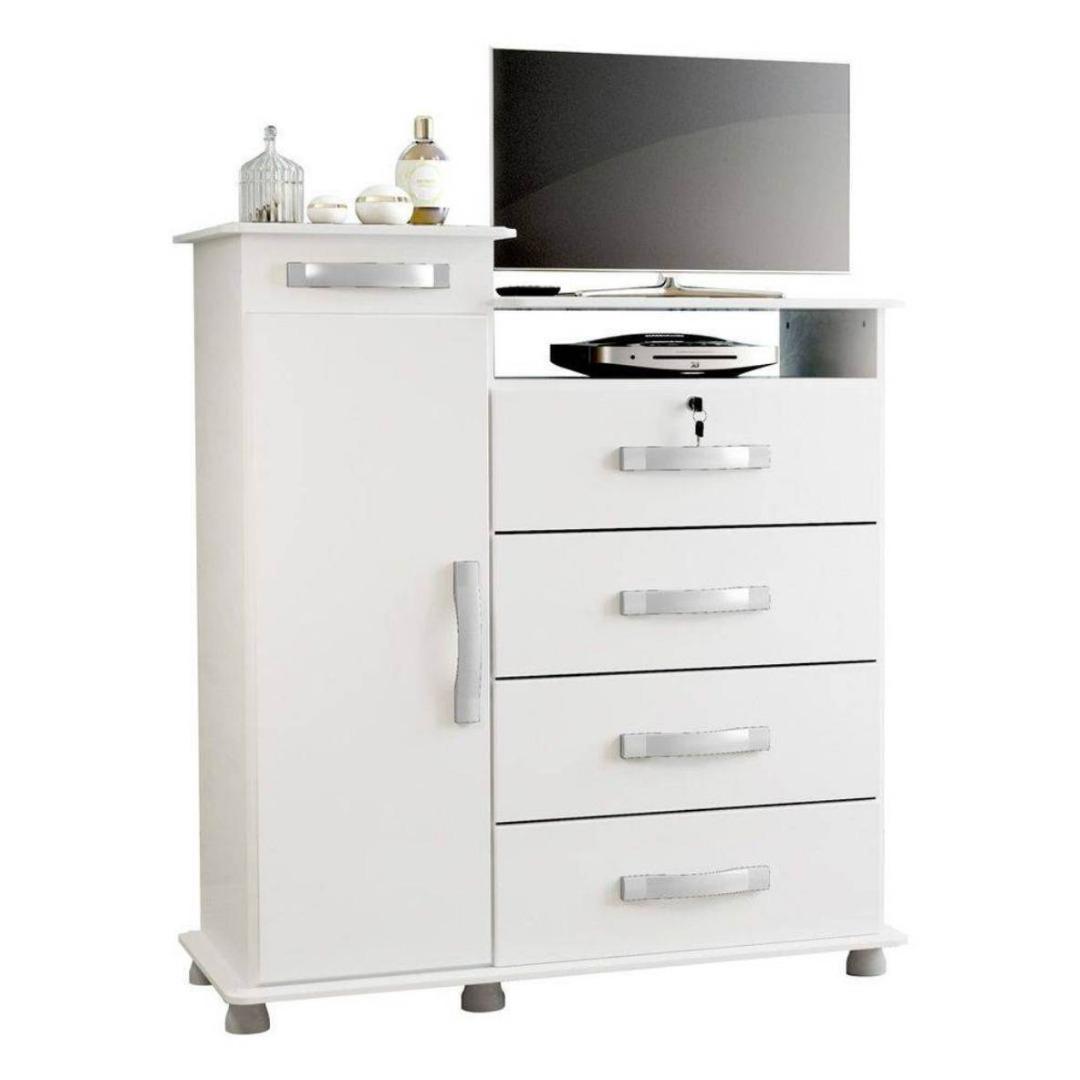 Cômoda Juma 1P/4G + Porta Joias com Espelho - Branco - Patrimar Móveis