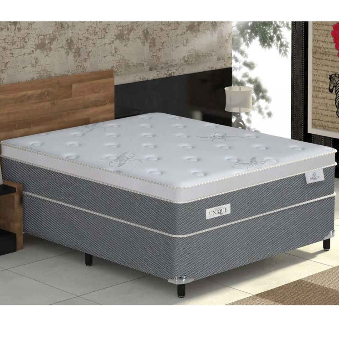 Conjunto Box Grafite Queen Size com Pillow top e Molas Ensacadas 158x198x60 - Plumatex