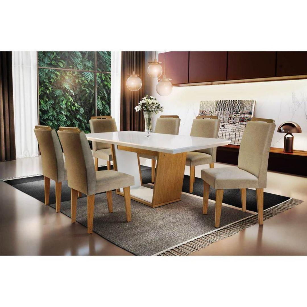 Conjunto De Jantar C/ 6 Cadeiras - Sofia athenas Rufato - Imbuia/ Off White