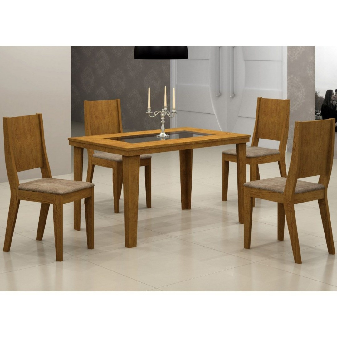 Conjunto Sala de Jantar Mesa Bella com 4 Cadeiras Bella - Imbuia - Rufato