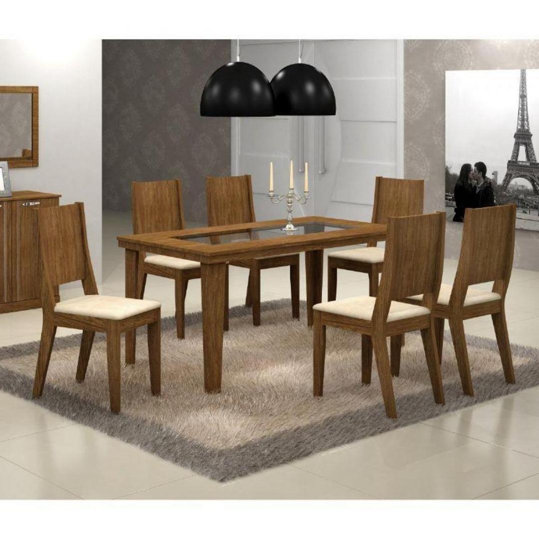 Conjunto Sala de Jantar Mesa Bella com 6 Cadeiras Bella - Imbuia - Rufato