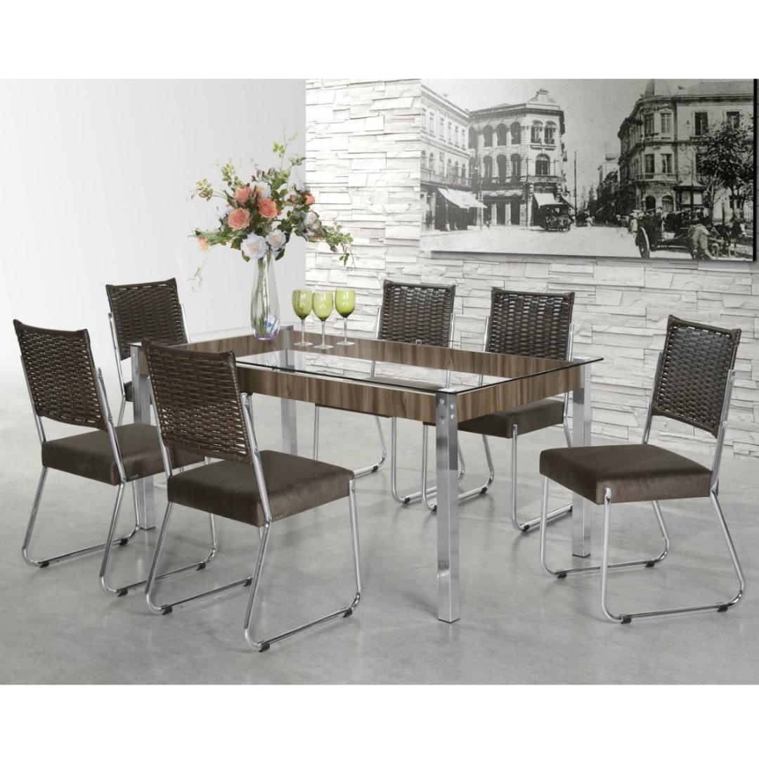 Conjunto Sala de Jantar Mesa Formato 6 Cadeiras - Aço Nobre