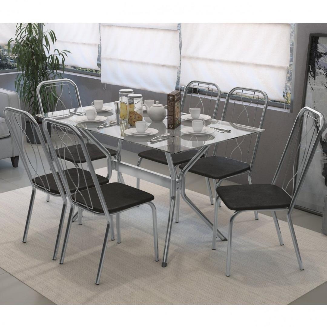 Conjunto Sala de Jantar - Mesa Loire 6 Cadeiras Viena Crome - Cromado/Preto - Kappesberg