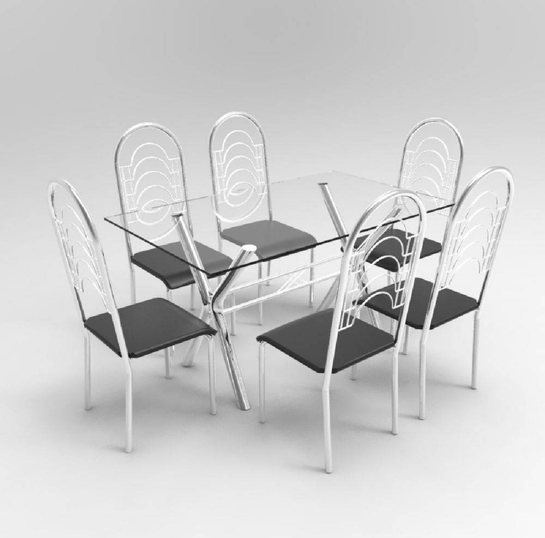 Conjunto Sala de Jantar Mesa Londres 6 Cadeiras Pequim - Cromado - Aço Nobre