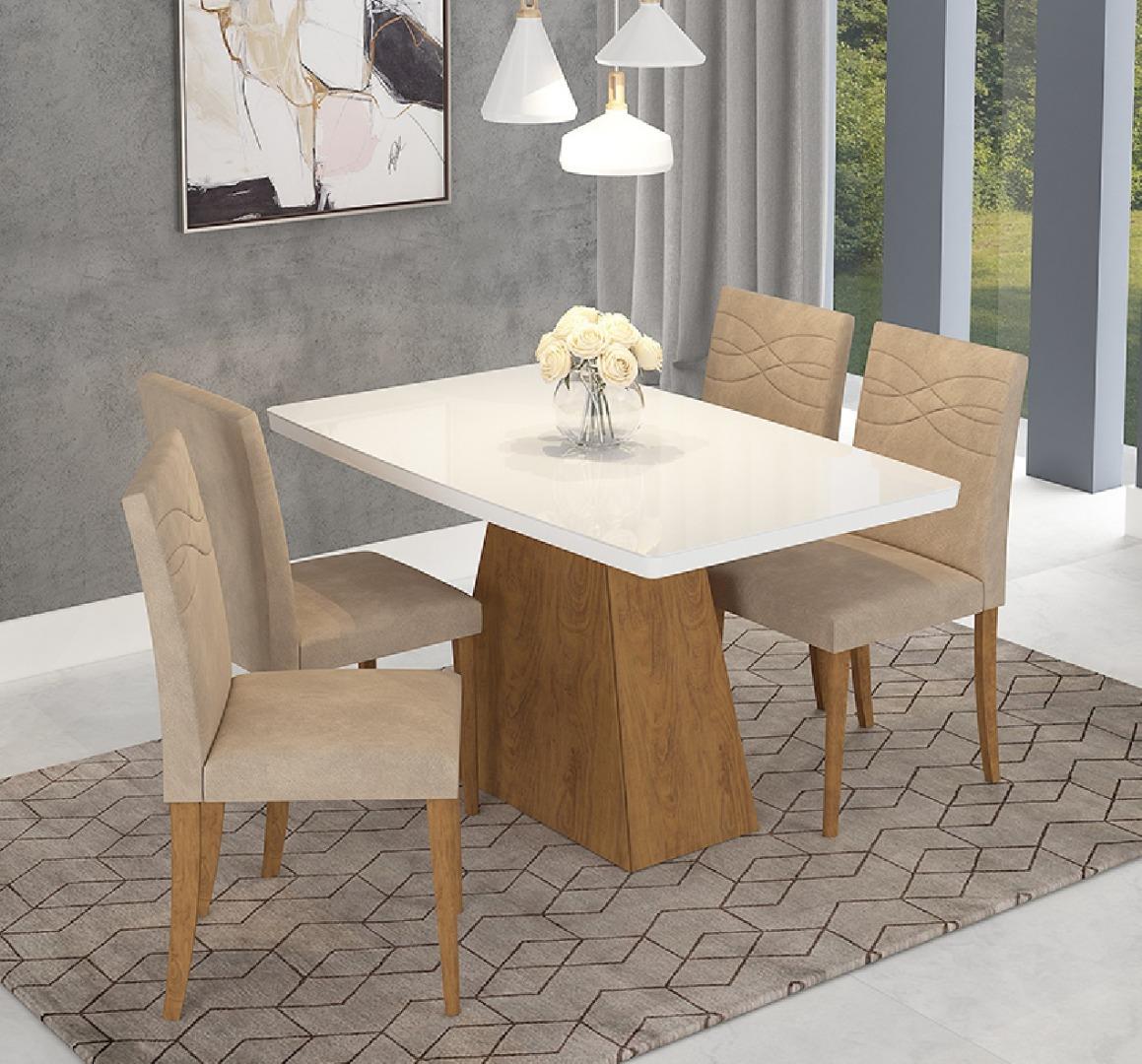 Conjunto Sala de Jantar Mesa Tampo em Vidro Helen - 4 Cadeiras Marina Savana/Branco/Caramelo - Cimol