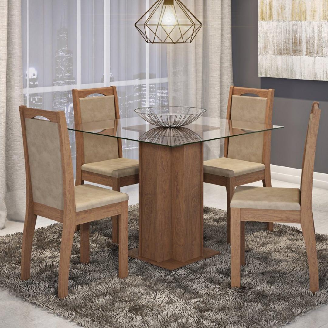 Conjunto Sala de Jantar - Mesa Tampo em Vidro Sophia 4 Cadeiras Livia - Savana/Suede Marfim - Cimol