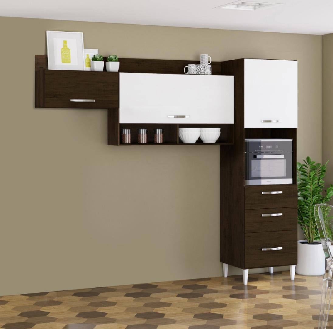 Cozinha Compacta em L Alice com Armário e Aéreos - Ravello/Branco - Aramóveis