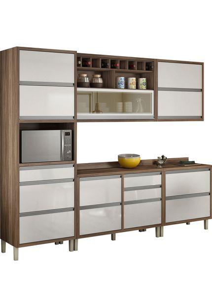 Cozinha Baronesa 3 Peças -  Nesher - Nogal/Branco