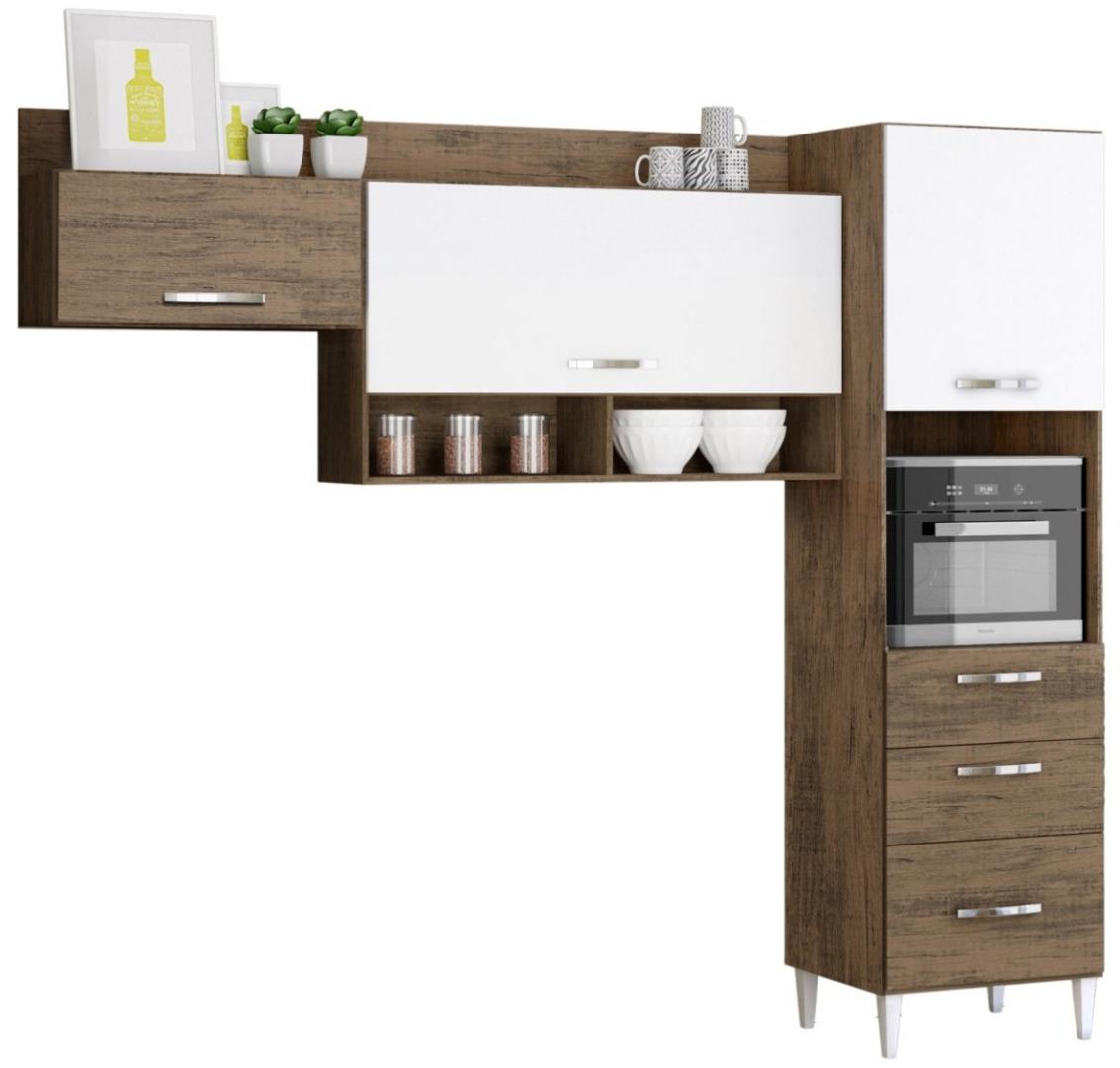 Cozinha Compacta Alice com Nicho para Forno 3 Portas 3 Gavetas - Dakota Branco - Aramóveis
