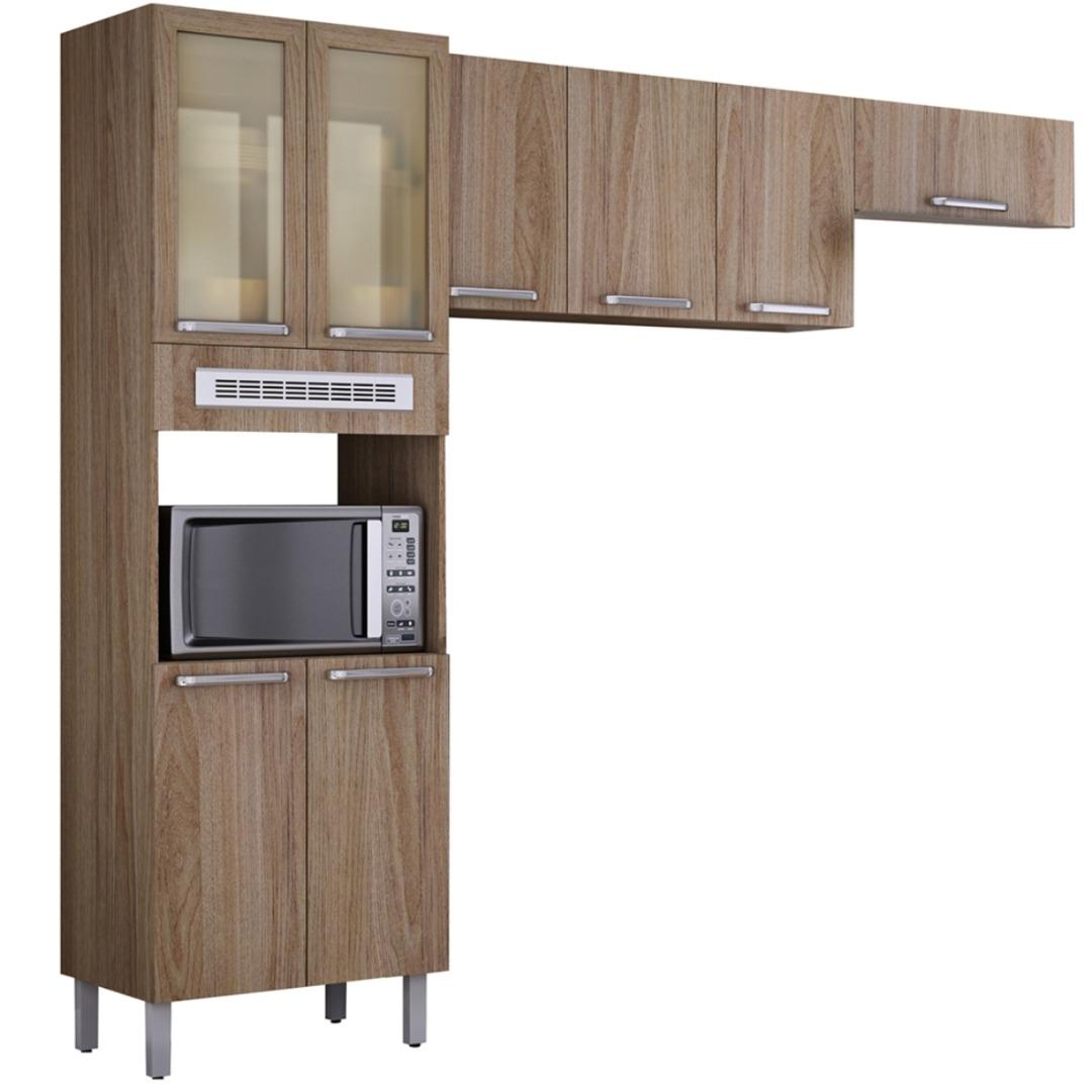 Cozinha Compacta Cacau 3 Peças com 8 Portas - Carvalho Hanover - Itatiaia