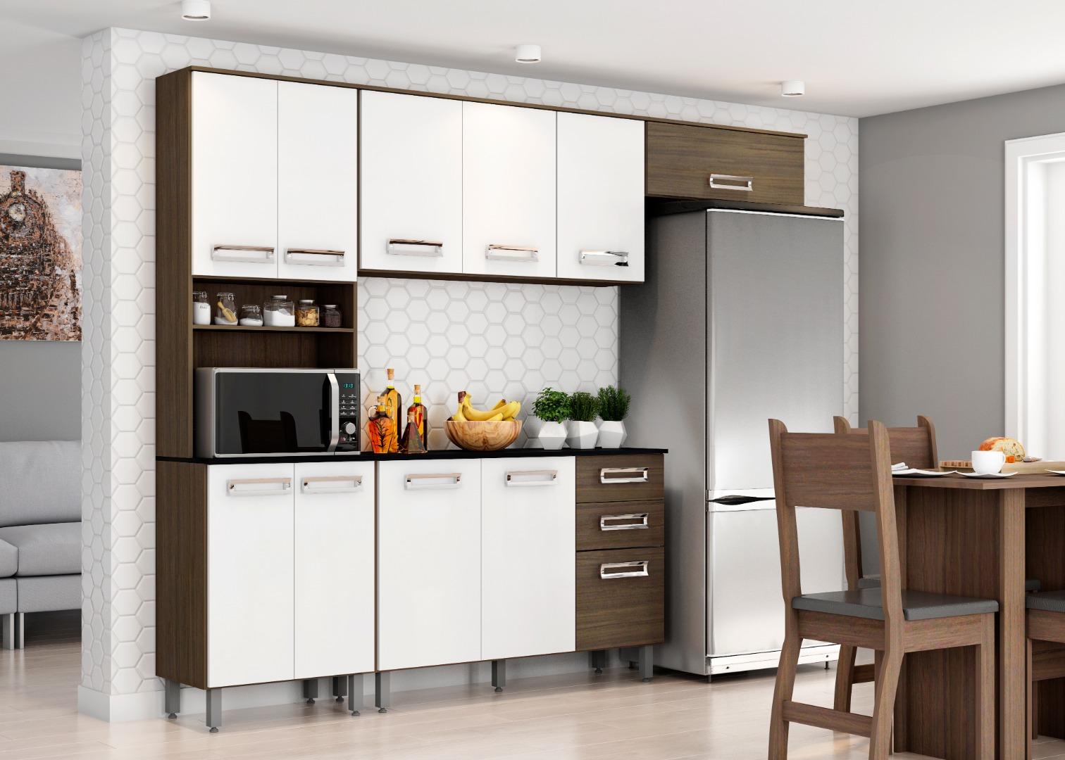 Cozinha Compacta Dubai - Poliman - Amendo/Branco