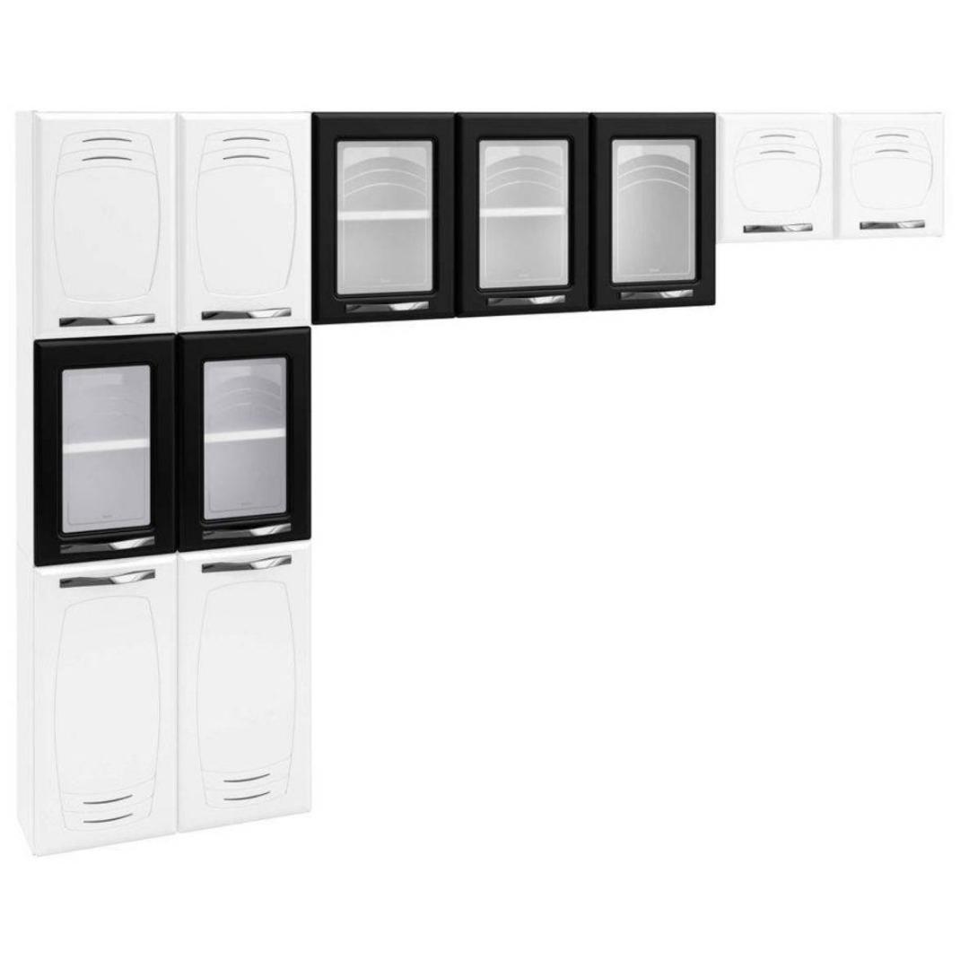 Cozinha Compacta Pérola 3 Peças 5 Portas de Vidro sem Balcão - Branco/Preto - Telasul