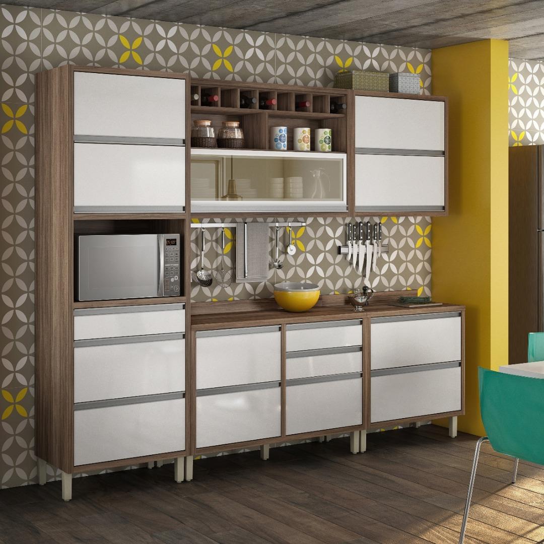 Cozinha Completa com Balcão Tampo em MDP 5 Peças Baronesa - Nesher