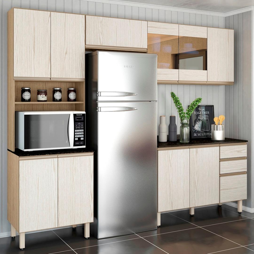 Cozinha Kali em MDF 262cm - Carvalho Gris Arezzo - Nicioli