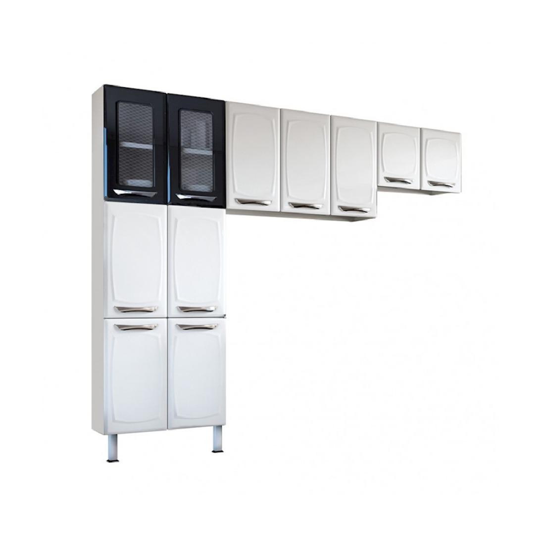 Cozinha Leblon 3 Peças em Aço e Vidro Branco e Preto Paneleiro, Armário de Parede e Mini Armário - Colormaq