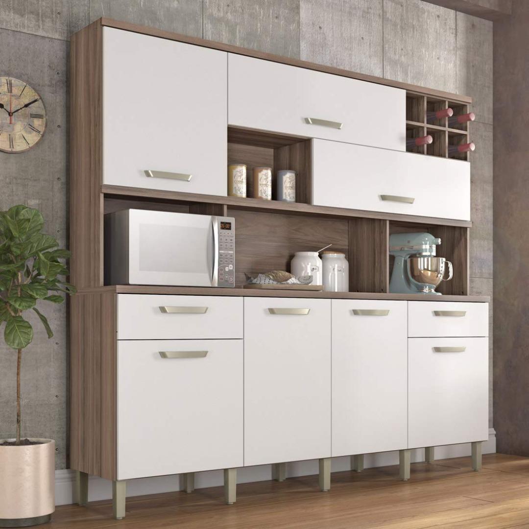 Cozinha Master  7 Portas 2 Gavetas  - Nesher -  Nogal/Branco