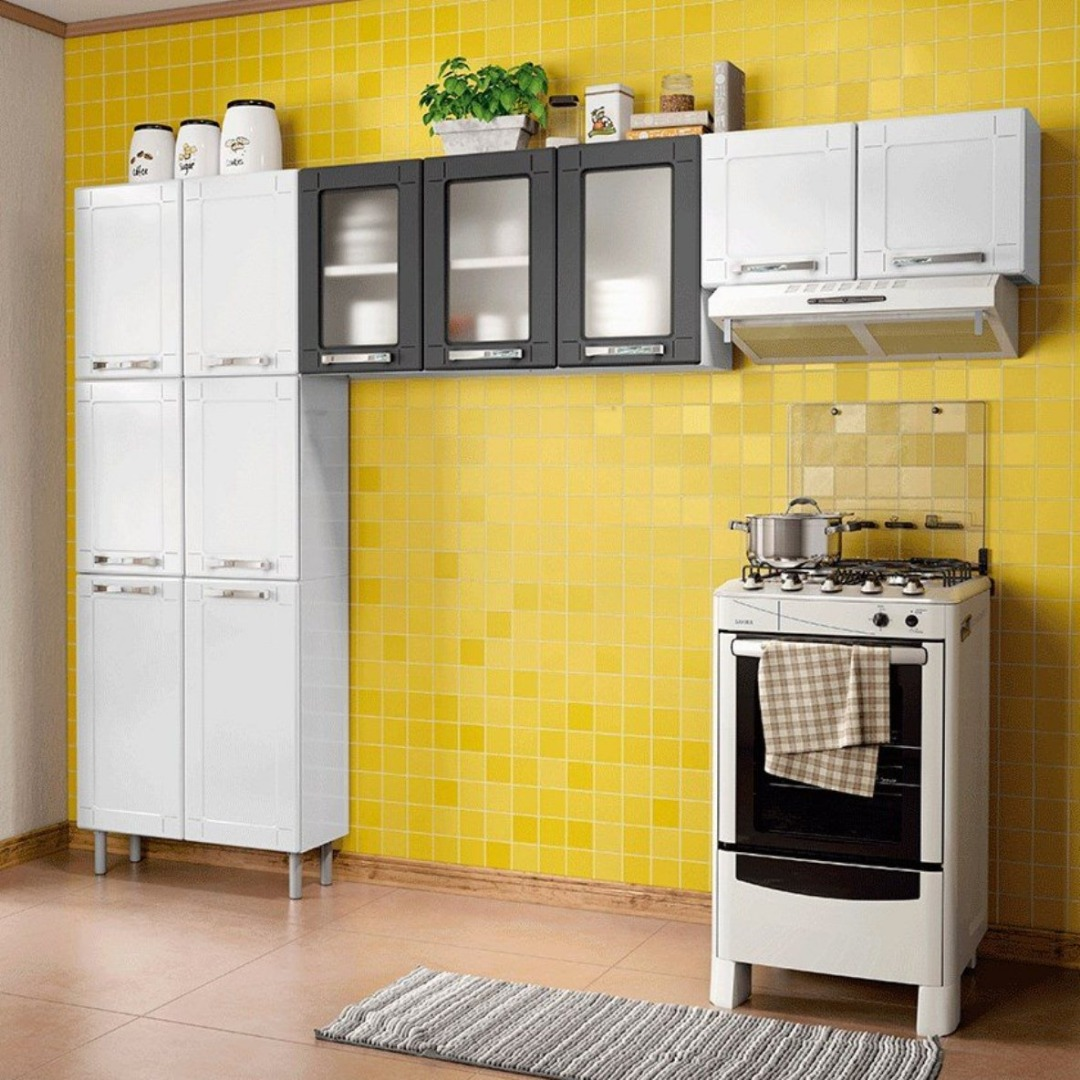 Cozinha Modulada 3 Peças em Aço Múltipla Branco/Preto - Bertolini