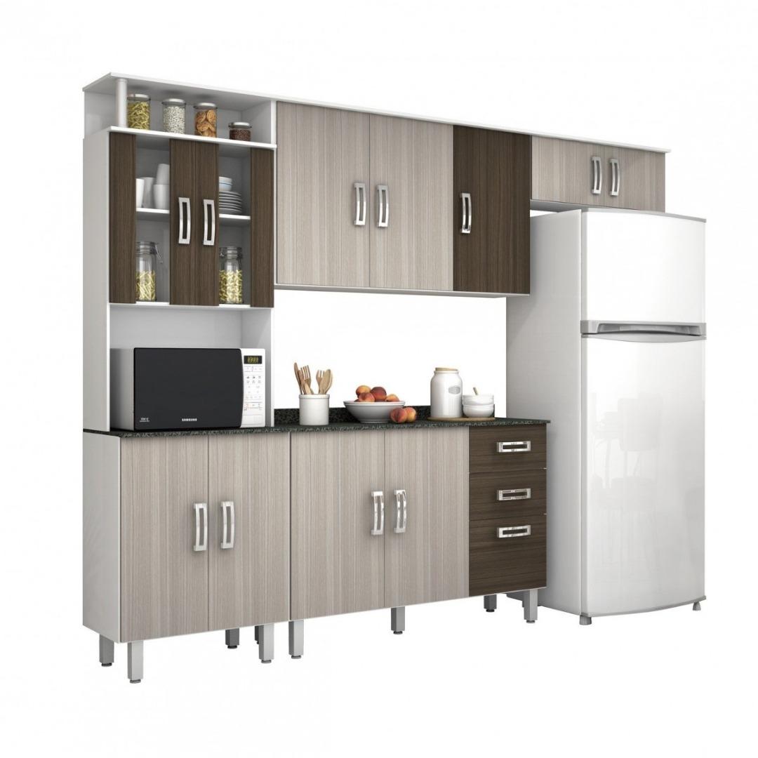 Cozinha Compacta com Balcão e Tampo MDP 4 Peças Suíça Branco/Rovere/Amêndoa - Poliman