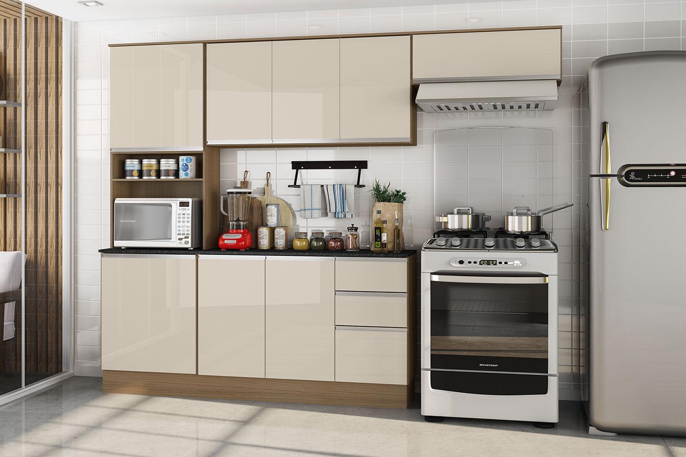Cozinha Paris - Poliman - Carvalho/Off White