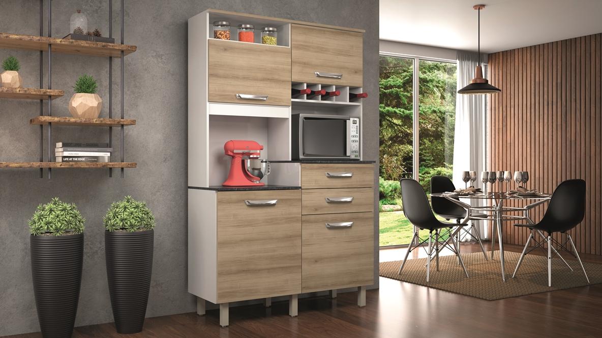 Armário de Cozinha Smart Jr - Nesher -  Nog/Branco