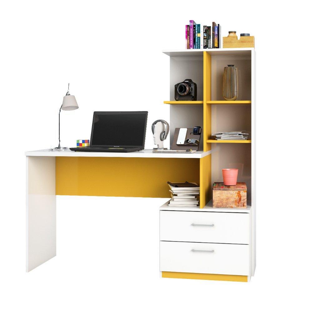 Escrivaninha Poli 2 Gavetas - Poliman - Branco/Amarelo