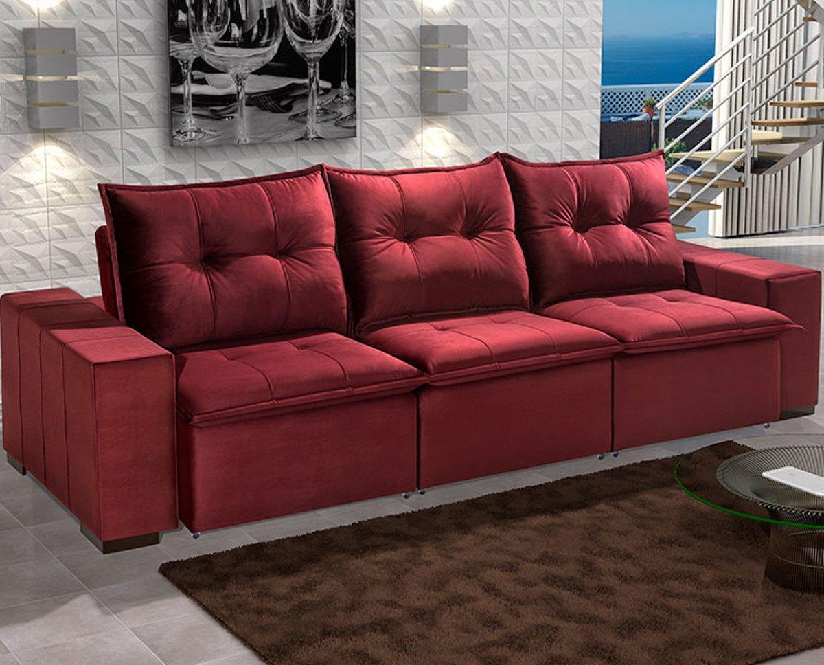 Estofado Athenas 3 Lugares Retrátil e Reclinável com Molas Ensacadas - Vermelho - Ideale
