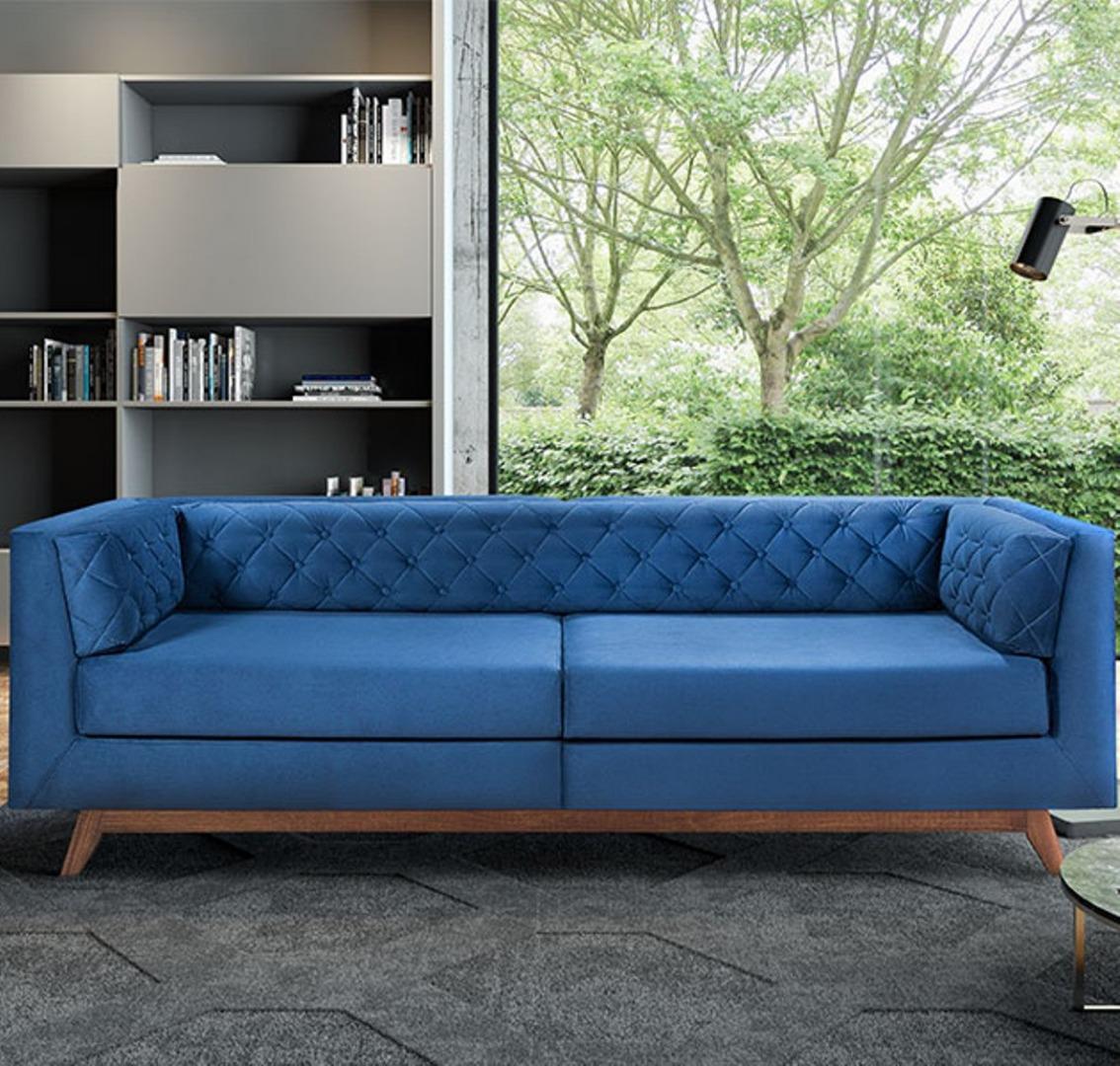 Estofado Jurere 2,4 Percintas Elásticas Trançadas - Almofadas Soltas com Espuma D-26 Soft - Azul - Ideale