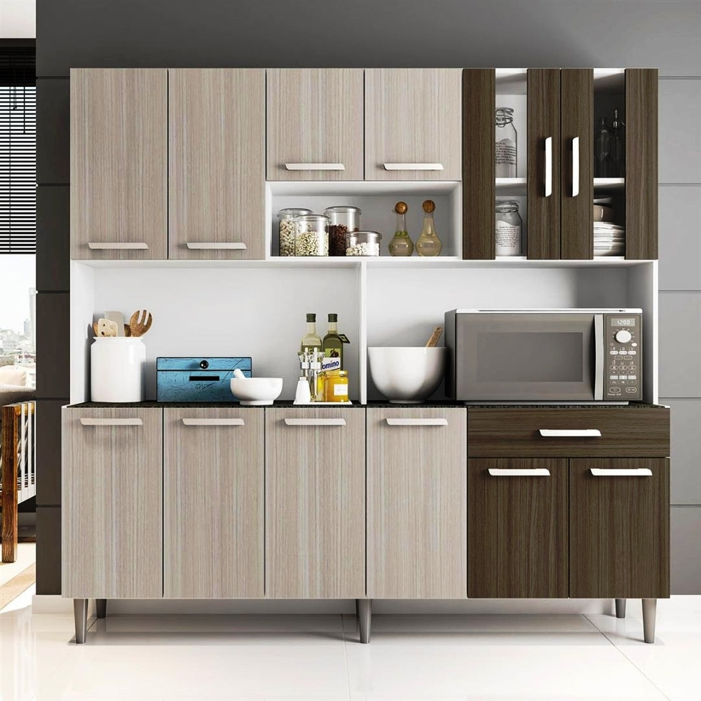 Kit Cozinha Clara - Poliman - Branco/Rovere/Amêndoa