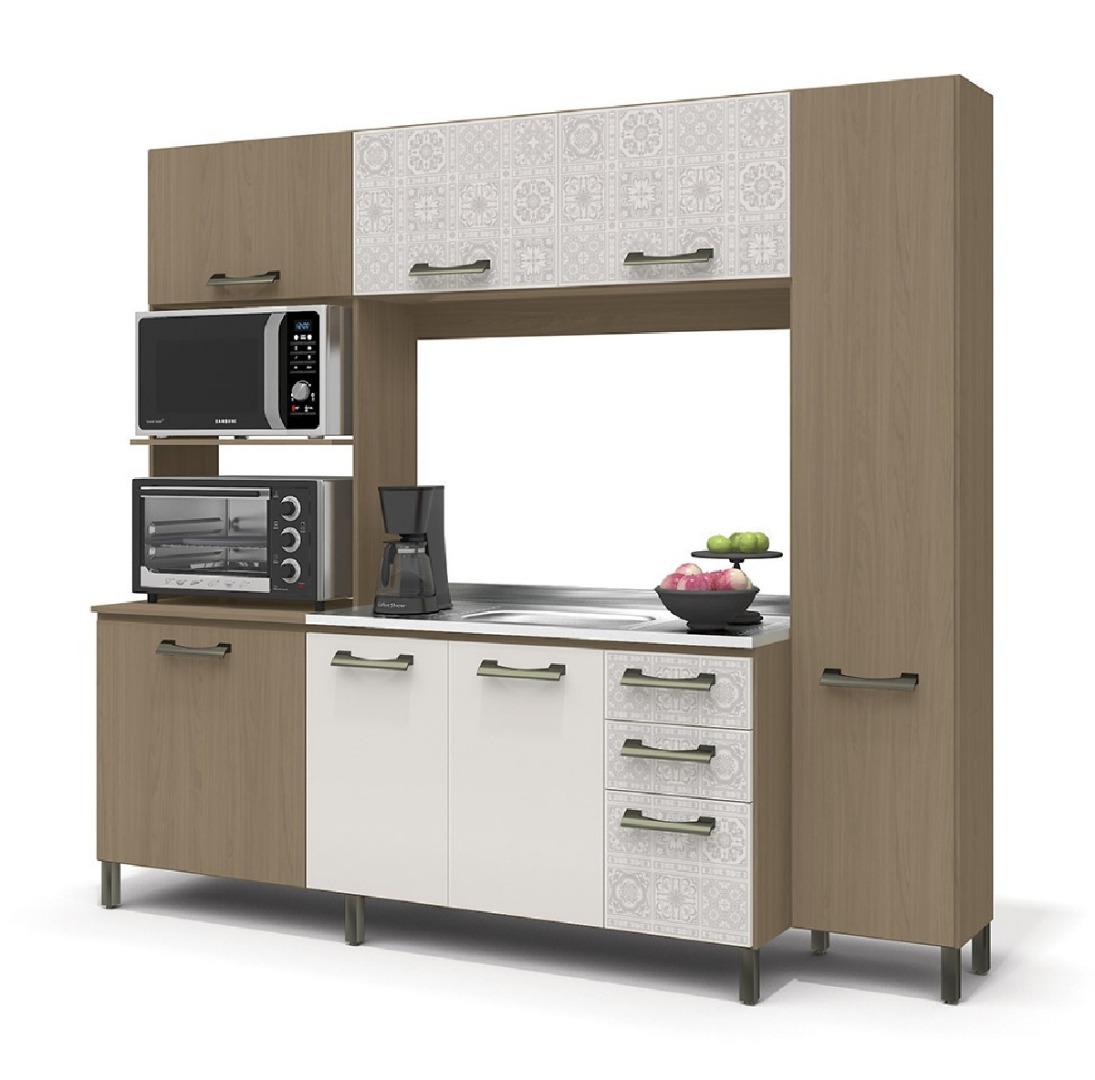Kit Cozinha Compacta 7 Portas 3 Gavetas   Nature/Branco/Azulejo - Kappesberg