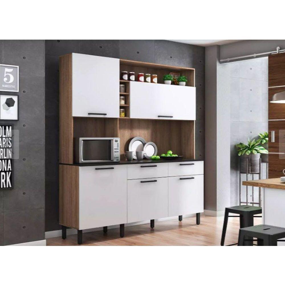 Kit Cozinha Dara - Itatiaia - Castanho/Branco