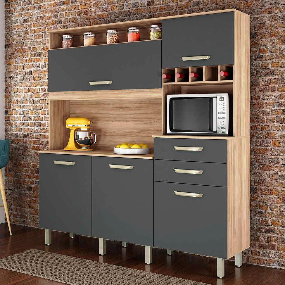 Kit Cozinha Diva Smart - Nesher - Cedro/Grafite