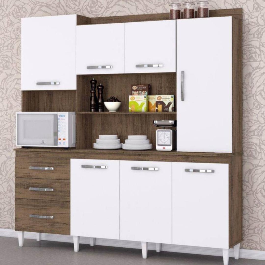Kit Cozinha Mirela 7 Portas 3 Gavetas - Dakota Branco - Aramóveis