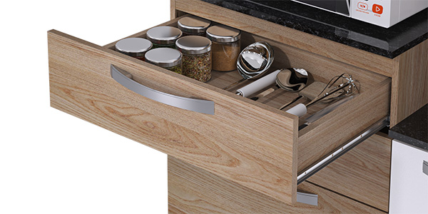 Kit de Cozinha Canela 7P/2G - Itatiaia - Carvalho/Branco