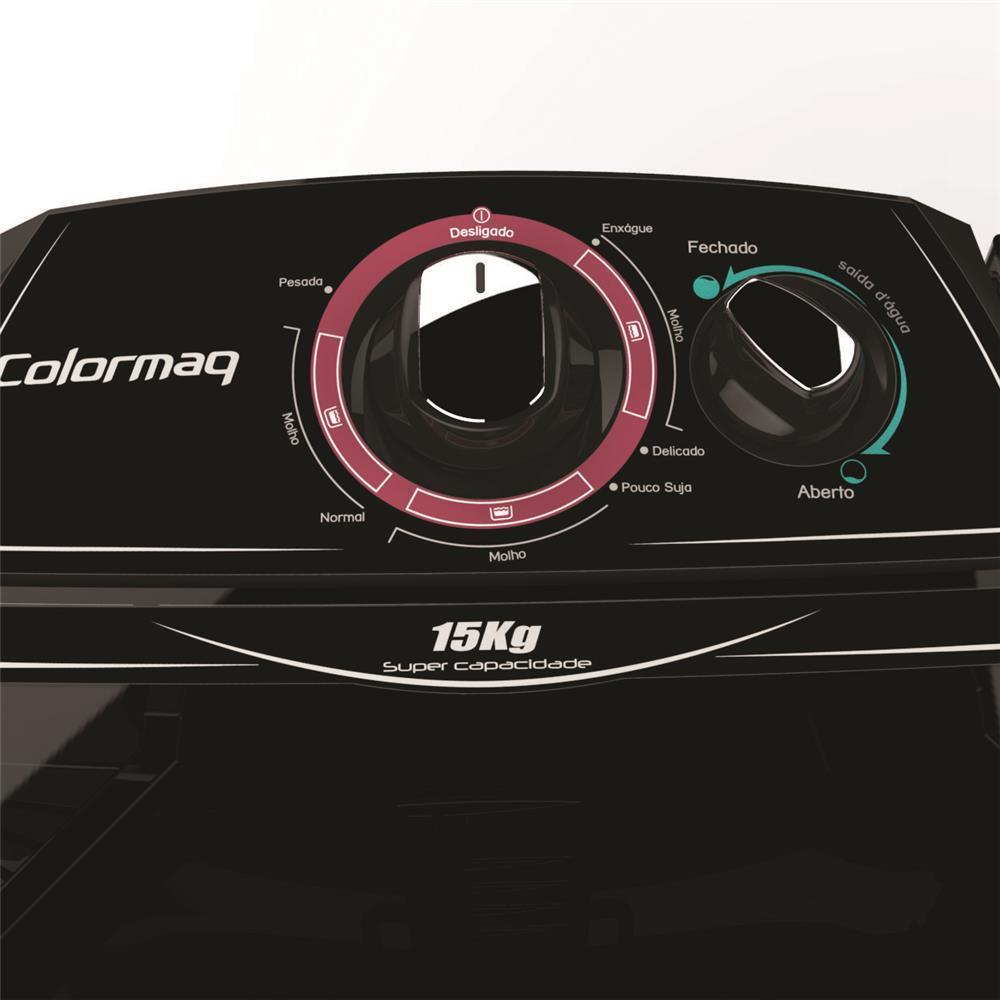 Lavadora de Roupas Semi-Automática Preta 15kg com 5 Programas de Lavagem - Colormaq