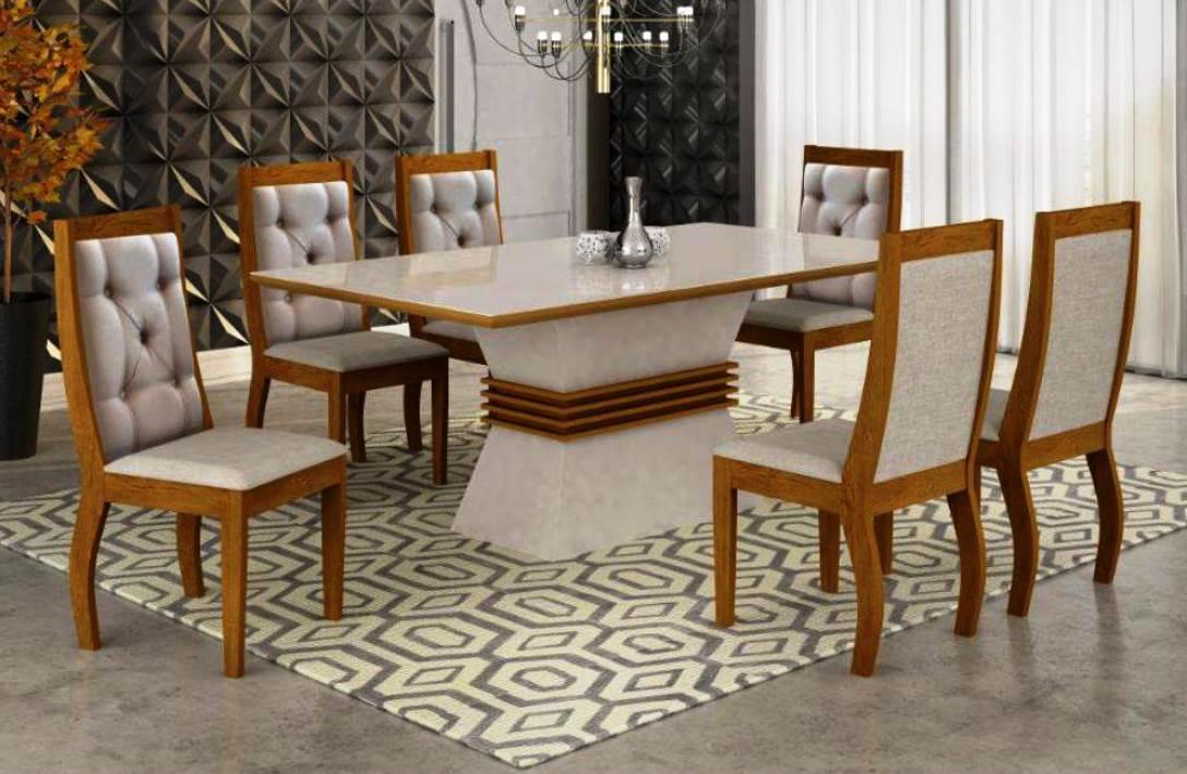 Mesa Ágata 6 Cadeiras  -  Rufato - Imbuia/Off White