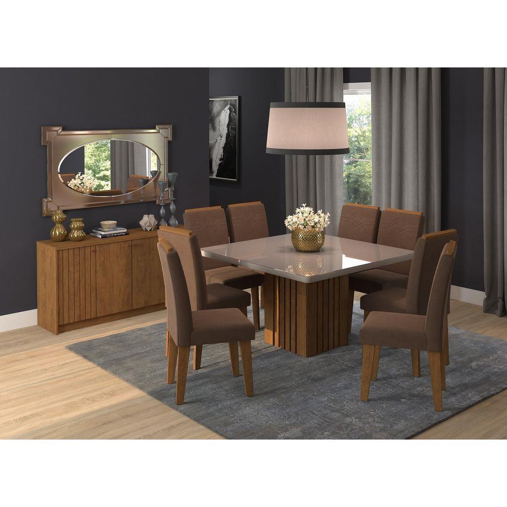 Mesa Ana Cadeiras Tais 8 Cadeiras Cimol - Savana/Off White/Chocolate