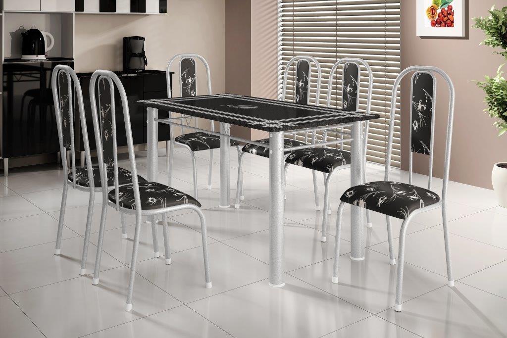 Mesa Ardosia - Bm Tubulares - branco ( 6 Cadeiras )
