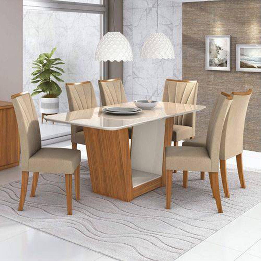 Mesa de Jantar 6 Cadeiras Apogeu - Lopas - Off White