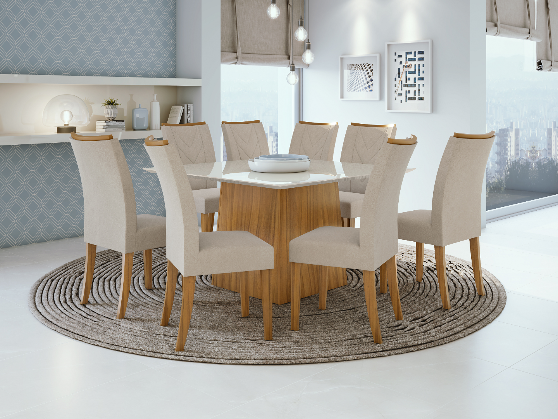Mesa de Jantar Nevada  8 cadeiras Atacama  - Lopas  - Rovere/Off White